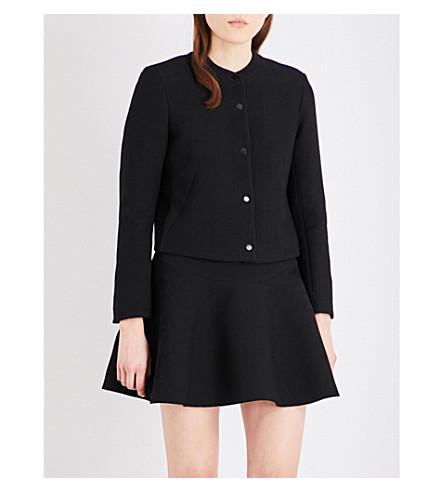 SANDRO Collarless woven jacket (Black