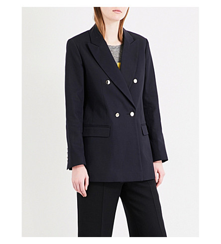 SANDRO Oversized cotton blazer (Navy+blue