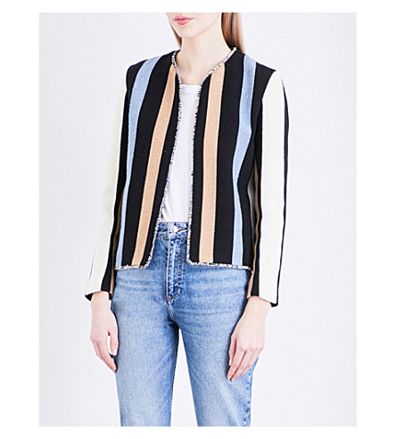 SANDRO Striped twill jacket (Blue
