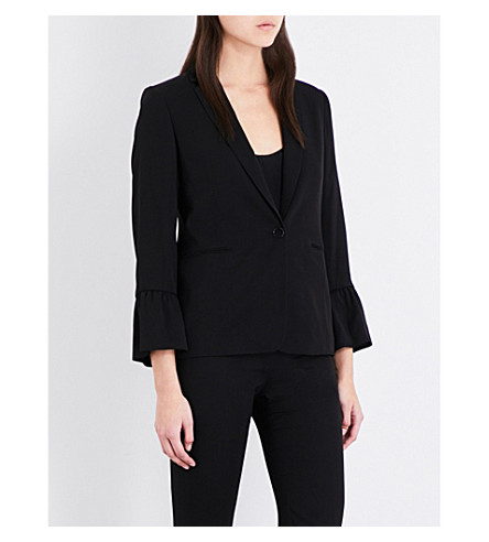 SANDRO Ruched-cuff twill jacket (Black