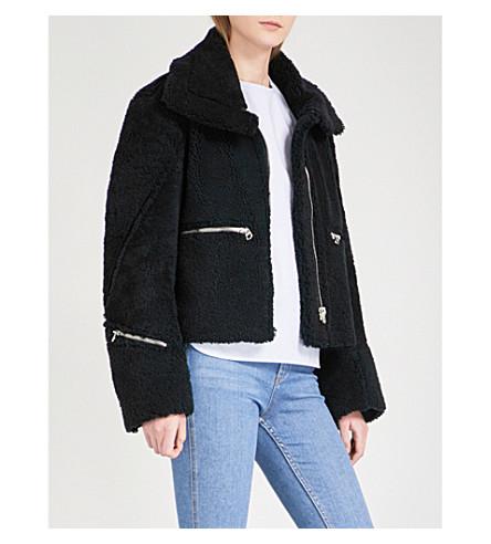 SANDRO Zip-detail shearling jacket (Navy+blue
