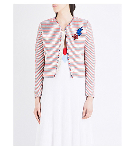 SANDRO Striped woven jacket (Red
