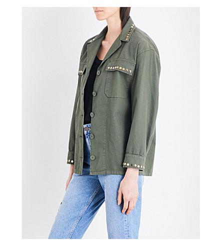 SANDRO Studded stretch-cotton jacket (Olive+green