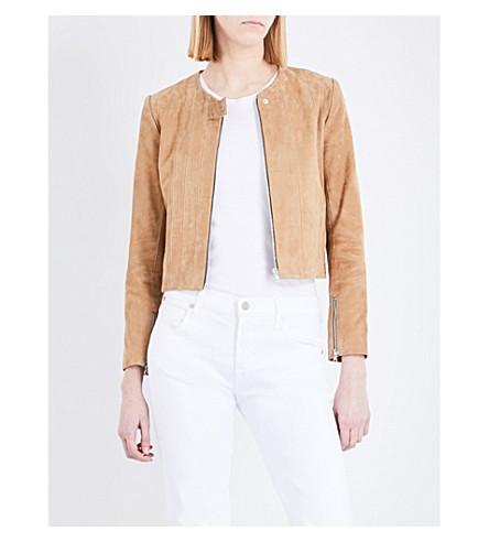 SANDRO Panelled suede jacket (Beige