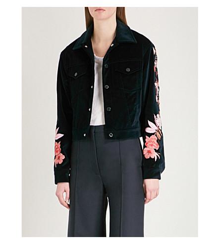 SANDRO Floral-embroidered velvet jacket (Black