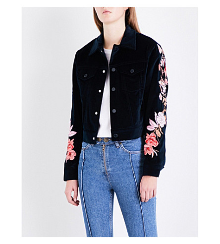 SANDRO Floral-embroidered velvet jacket (Navy+blue