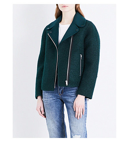 SANDRO Biker-style felt and wool jacket (Green