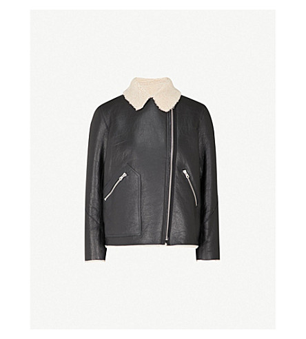 SANDRO Notch-lapels shearling leather jacket (Black