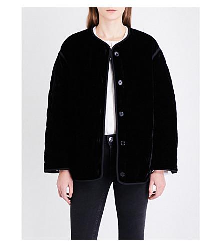 SANDRO 绗缝天鹅绒西装外套 (黑色