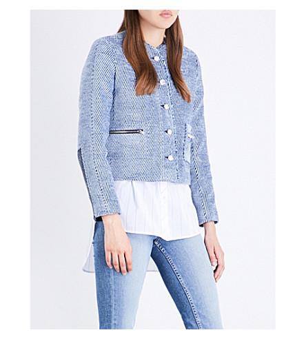 SANDRO Collarless tweed jacket (Blue