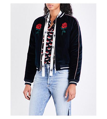 SANDRO Embroidered reversible velvet jacket (Navy+blue