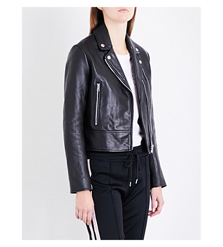 SANDRO Biker leather jacket (Black