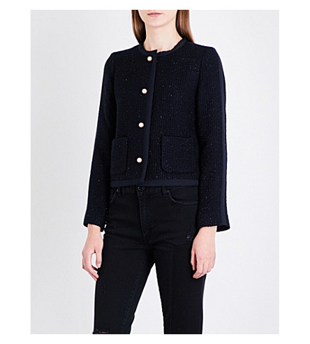 SANDRO Metallic-thread tweed blazer (Navy+blue