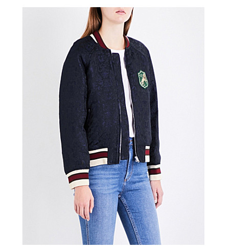 SANDRO Embroidered-patch jacquard jacket (Black