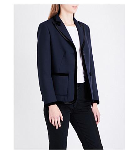SANDRO Velvet-trimmed twill blazer (Navy+blue