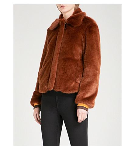SANDRO Striped-trim faux-fur jacket (Brown