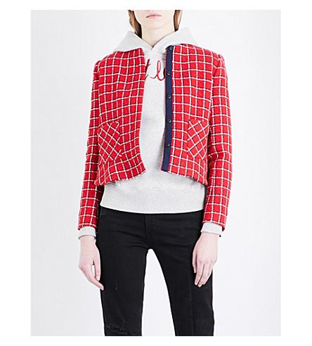 SANDRO Checked round-neck woven blazer (Red