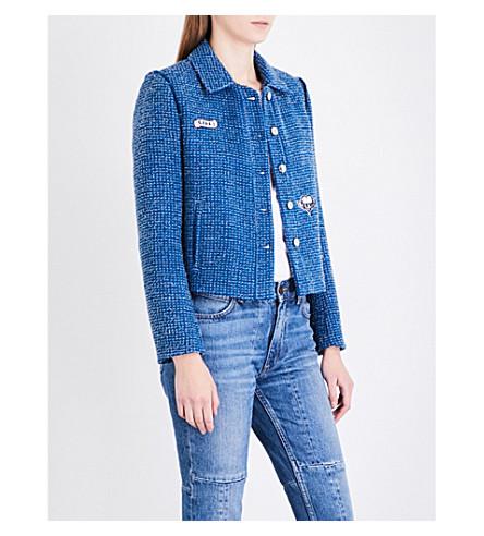 SANDRO Patch-detail tweed blazer (Azur+blue
