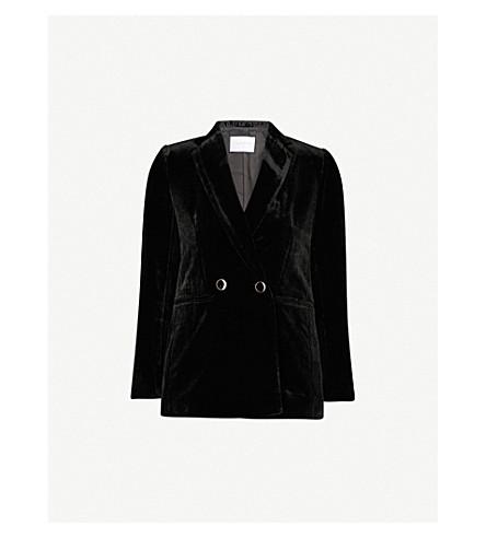 SANDRO Slim-fit velvet blazer (Black