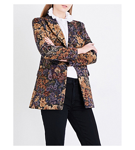 SANDRO Floral brocade blazer (Multi-color