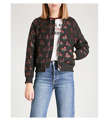 SANDRO Rose-jacquard satin bomber jacket (Black