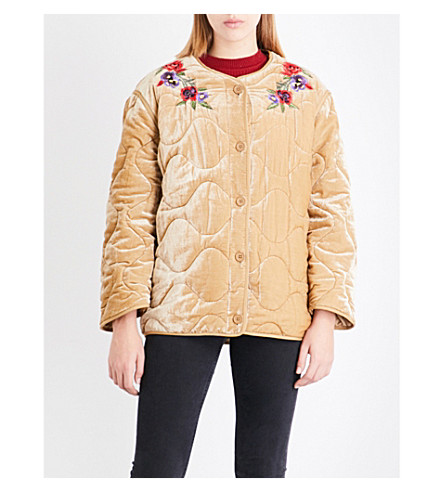 SANDRO Floral-embroidered velvet jacket (Beige