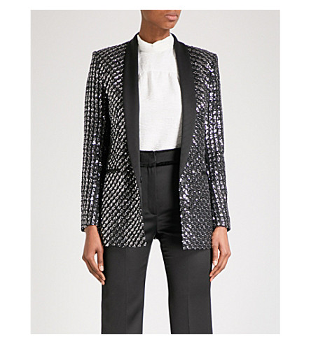 SANDRO Single-breasted sequinned blazer (Silver