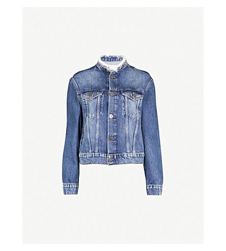 SANDRO Pearl embellished denim jacket (Blue+vintage+-+denim