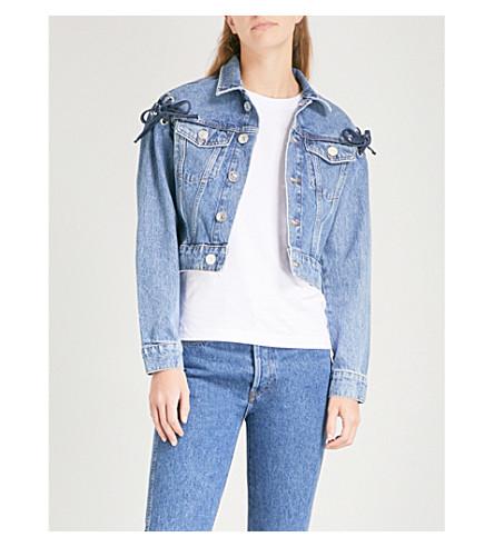 SANDRO Lace-up detail cropped denim jacket (Blue+vintage+-+denim