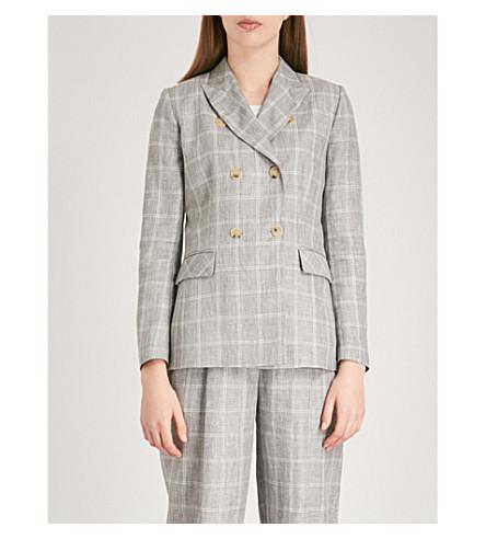 SANDRO Checked linen-blend jacket (Gris