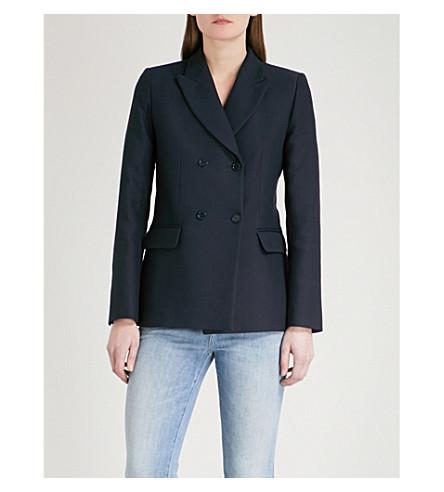 SANDRO Double-breasted woven jacket (Marine
