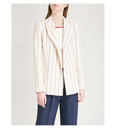 SANDRO Striped single-breasted cotton and linen-blend jacket (Ecru