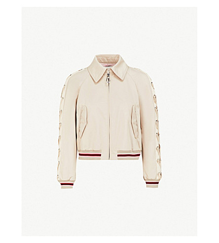 SANDRO Laced-sleeve cotton bomber jacket (Beige
