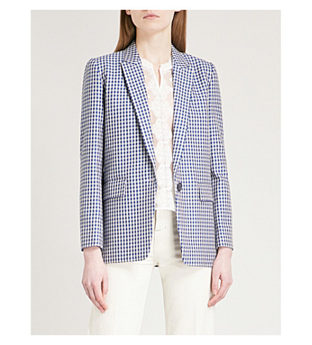 SANDRO Checked cotton jacket (Bleu