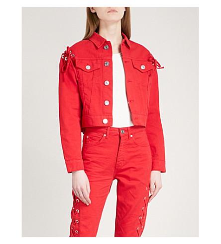 SANDRO Laced-detail denim jacket (Rouge+cerise