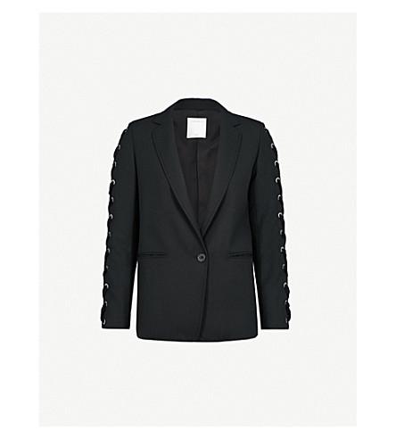 SANDRO Lace-up detail woven jacket (Noir