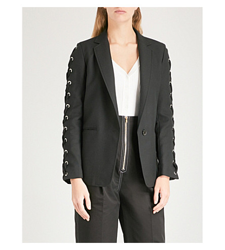 SANDRO Lace-up detail woven jacket (Noir