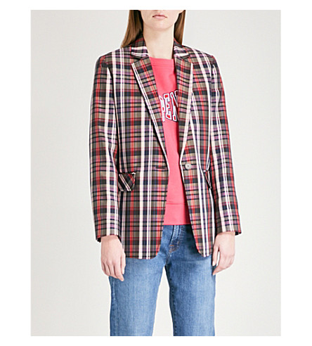 SANDRO Checked single-breasted woven jacket (Multicolore
