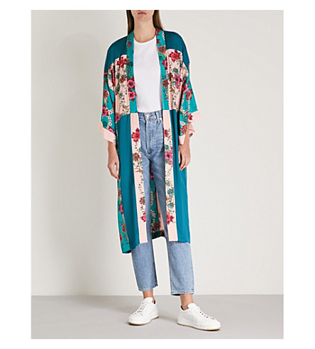 Floral-print silk-satin robe(V7136E)