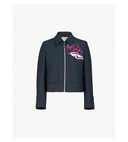SANDRO Floral and sequin-embellished cotton-blend jacket (Bleu+nuit