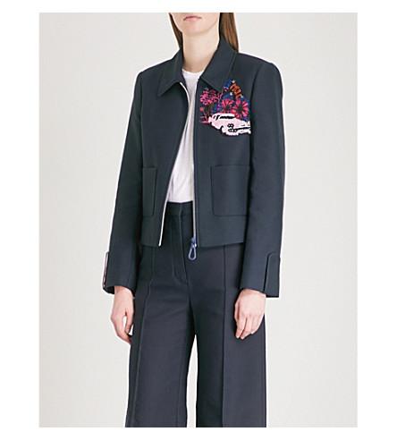Floral and sequin-embellished cotton-blend jacket(V7147E)