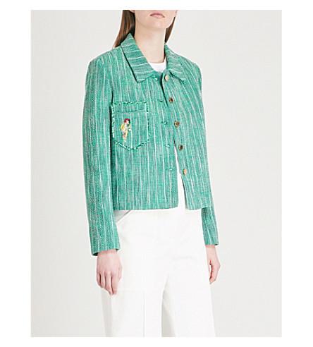 SANDRO Parrot-motif tweed jacket (Vert