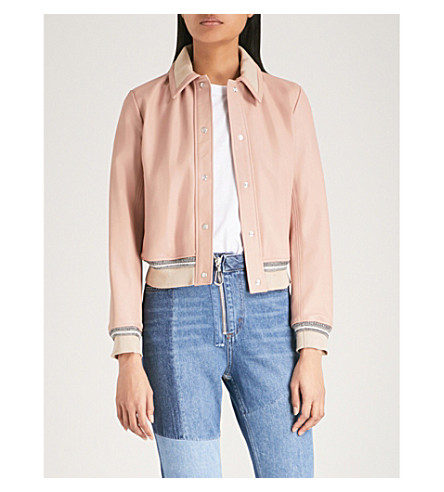 SANDRO Ribbed-trim leather jacket (Cream