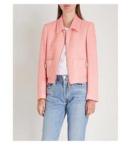 Zip-detail textured cotton-blend jacket(V7177E)