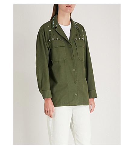 Stud-embellished cotton and linen-blend jacket(V7194E)