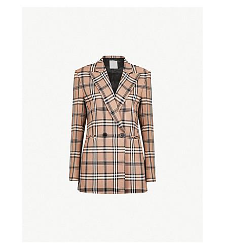 SANDRO Checked woven jacket (Camel