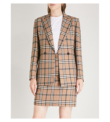 SANDRO Checked peak-lapel woven jacket (Camel