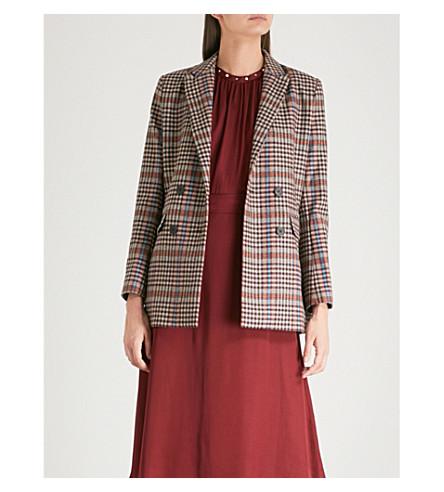 SANDRO 峰值翻领格纹羊毛混纺夹克 (多 + 彩色