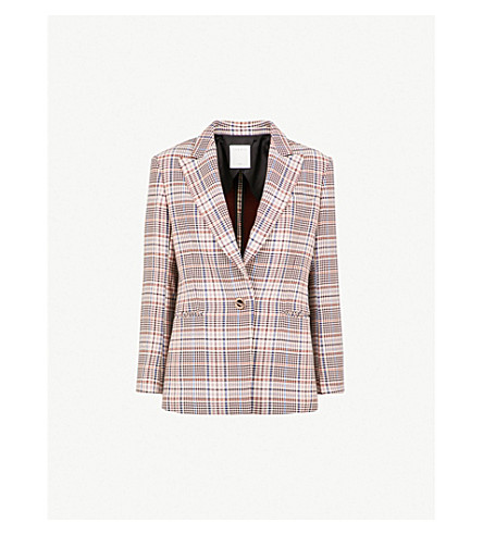 SANDRO Checked cotton and wool-blend blazer (Multicolore
