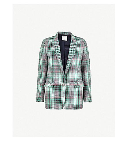 SANDRO 格子羊毛混纺夹克 (紫红色 + + 绿色